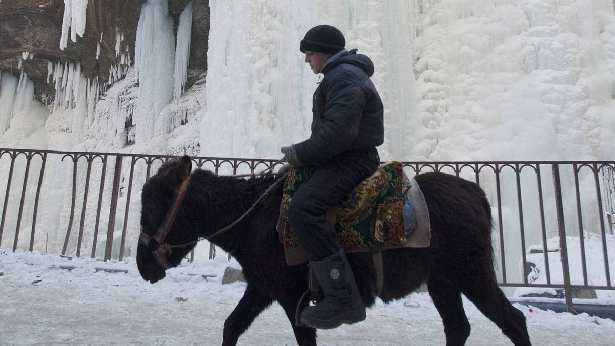 A tourist rides a donkey in front of the frozen Chegem waterfall near Nalchik in Russia.