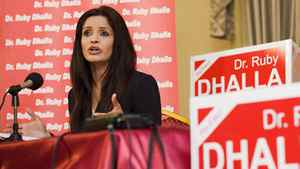 Liberal incumbent Ruby Dhalla holds a press conference in her riding of Brampton-Springdale on April 27, 2011.