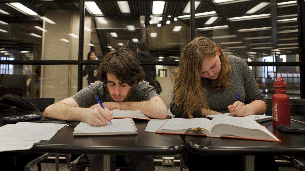 University of Toronto students Paul Nirenberg and Tanya Brekelmans study in Robarts Library on Feb. 15, 2012.