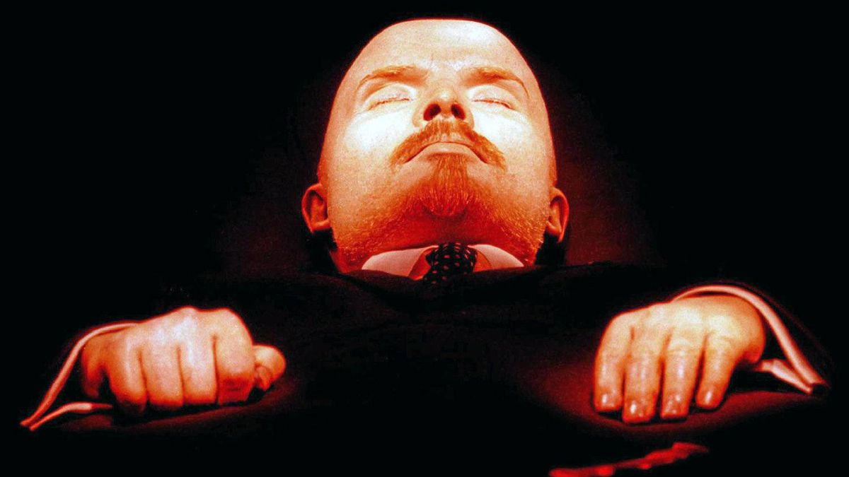 The body of Bolshevik leader Vladimir Lenin lies in the mausoleum at the Red Square in Moscow, March 11, 1997.