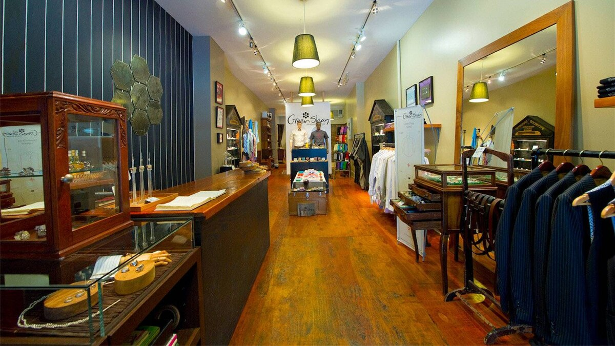 While bespoke defines the company's brand, their eclectic array of accessories, from shirts and ties to jewellery, accounts for a major percentage of Green Shag's business.