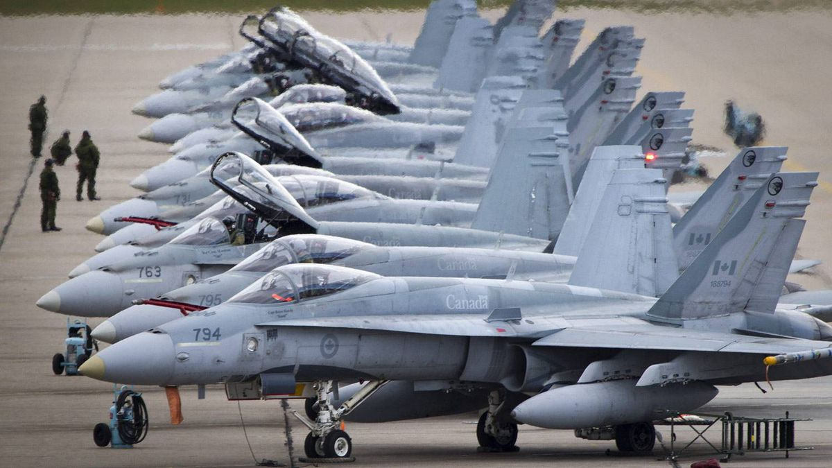CF-18's are line up on the tarmac before take off.