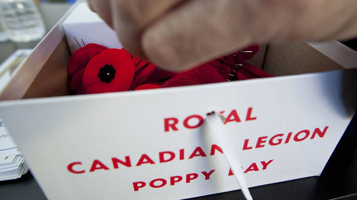 A box of Royal Canadian Legion Poppies for Remembrance Day photographed in Toronto, Ontario, Canada.