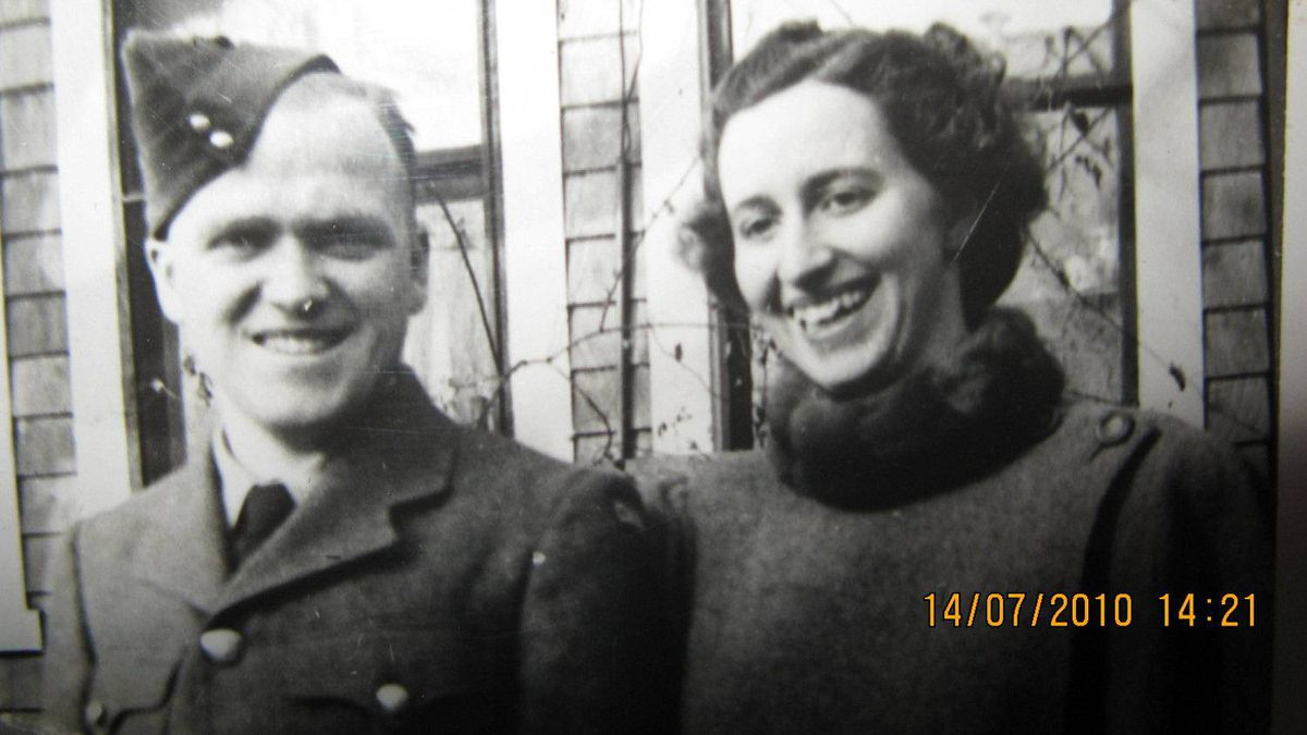 Alson Hoffman and his wife Margaret Almas Hoffman, taken after he enlisted in the fall 1942.