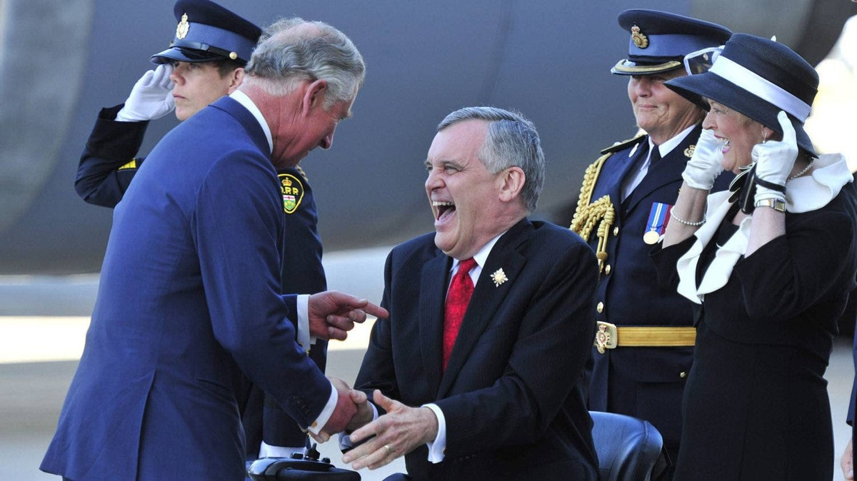 Prince Charles is greeted by Ontario Lieutenant-Governor David Onley in Toronto on Monday, May 21, 2012. The royal couple are visiting to Canada to mark the Queen's Diamond Jubilee.