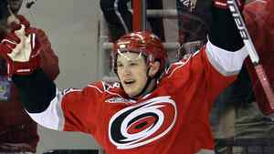 Carolina Hurricanes' Jeff Skinner celebrates his second goal against the Montreal Canadiens during the first period of an NHL hockey game in Raleigh, N.C., Wednesday, March 30, 2011. Carolina won 6-2. (AP Photo/Gerry Broome)