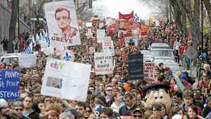 Students protesting the rise in tuition fees demonstrate in Montreal Saturday, April 14, 2012.