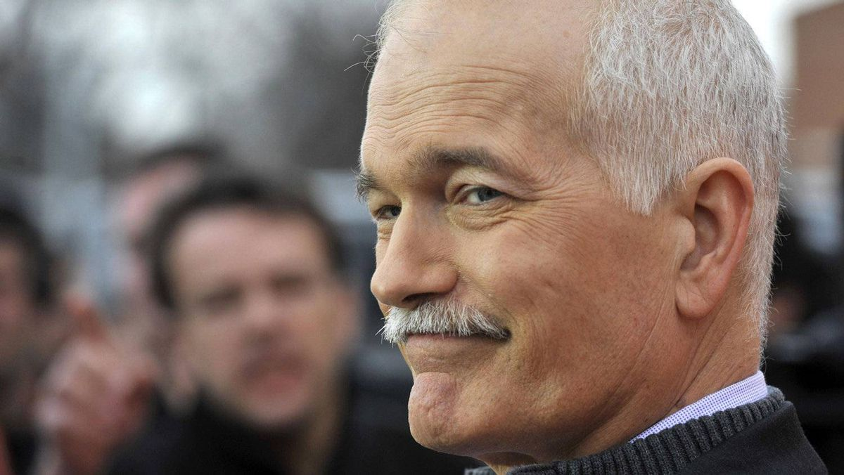 NDP Leader Jack Layton takes questions in Winnipeg on April 27, 2011.