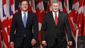 British Prime Minister, left, and Canadian Prime Minister Stephen Harper take part in a joint news conference on Parliament Hill in Ottawa, Sept. 22, 2011.