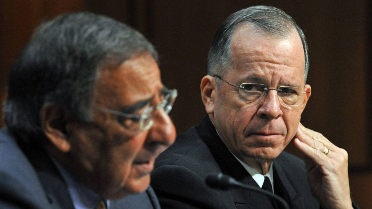 U.S. Chairman of the Joint Chiefs of Staff Admiral Mike Mullen, right, and U.S. Defense Secretary Leon Panetta testify before the U.S. Senate Armed Services Committee on Sept. 22, 2011 on Capitol Hill in Washington, DC.
