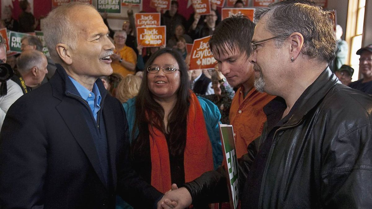 """After Saskatchewan shut out the NDP in 2008, Jack Layton spent Monday trying to woo the province back. """"In this election, I am asking everyone in Saskatchewan, no matter who you voted for in the past, to unite with the New Democrats, to rally together this time, so we can defeat Stephen Harper once and for all."""" Mr. Layton highlighted the Conservative scandals, problems with Senate appointments and Saskatchewan families' concerns about flood relief from Ottawa."""
