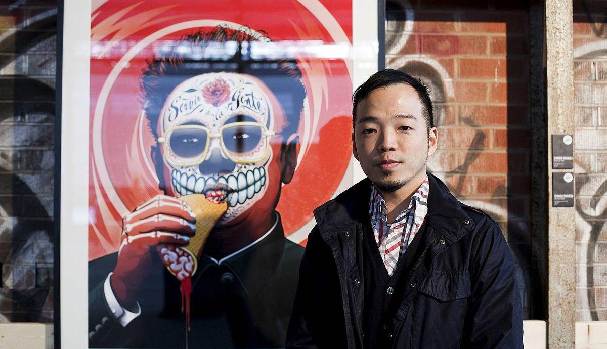 TORONTO -- April 13, 2012: Artist Shingo Shimizu next to his art at La Carnita's Uno: The Art Show at Evergreen Brick Works. Photo by Della Rollins for the Globe and Mail