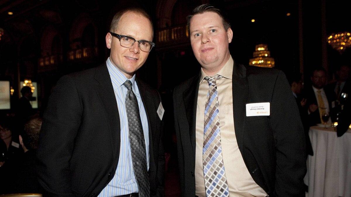 Award recipients Paul Hamilton, left, and Brendan Clough of Beutal Goodman and Co.