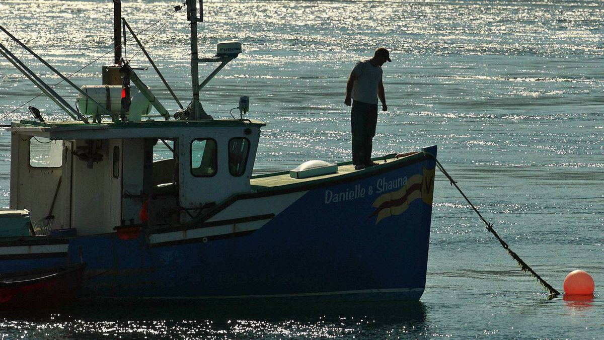 A fisherman checks the lines on his fishing boat in Tiverton, N.S. on July 19, 2010.