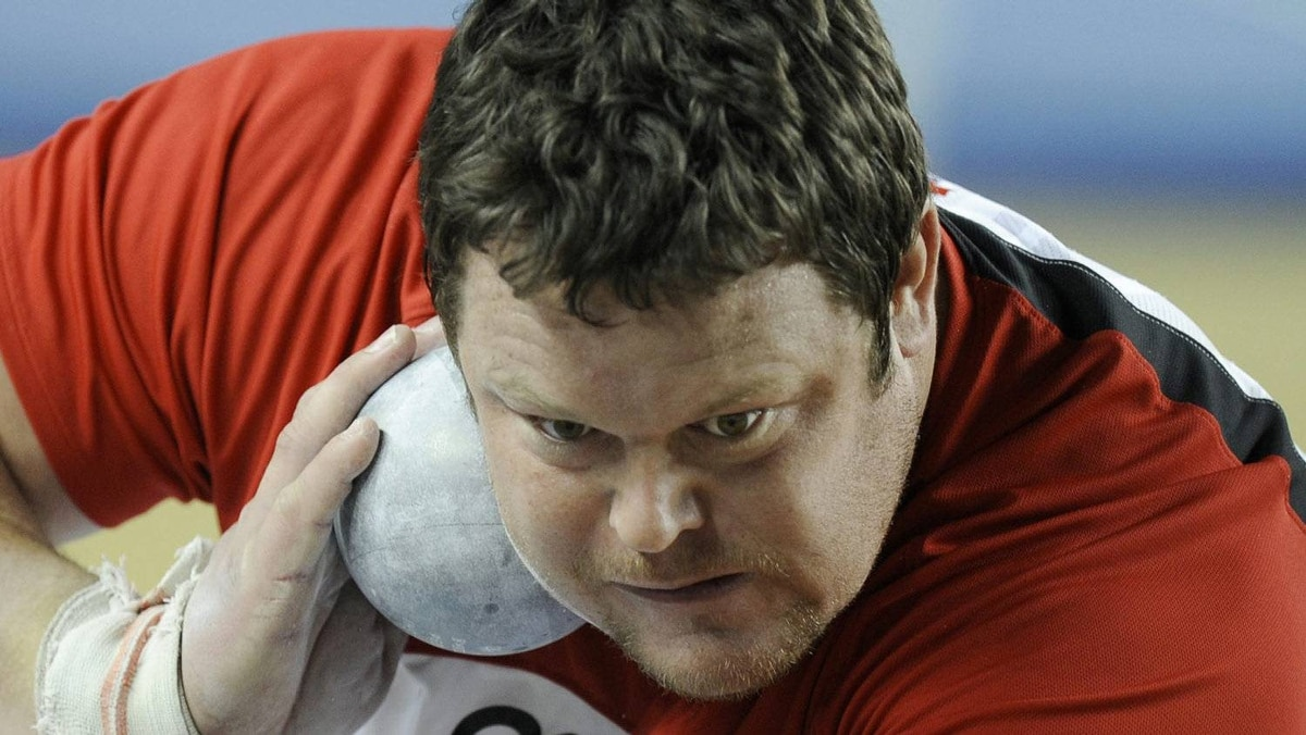 Canada's Dylan Armstrong makes an attempt at the Men's Shot Put qualification during the World Indoor Athletics Championships in Istanbul, Turkey, Friday, March 9, 2012. (AP Photo/Martin Meissner)