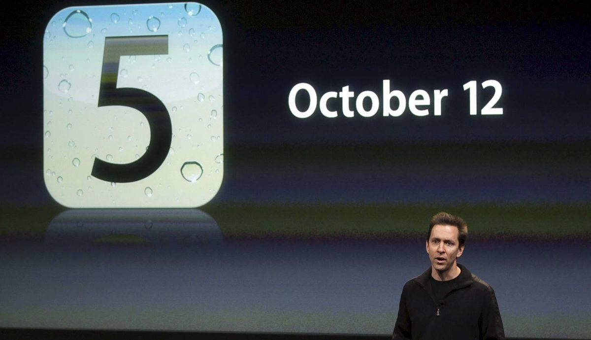 Scott Forstall, senior vice president of iPhone Software at Apple, speaks about iOS5 at Apple headquarters in Cupertino