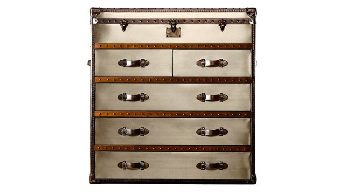 Featuring five commodious canvas-lined drawers, Restoration Hardware's handmade brushed-steel Mayfair Steamer Chest features a solid wood frame and more than 3,000 hand-hammered brass nailheads. $2,475 (U.S.) through www.restorationhardware.com.