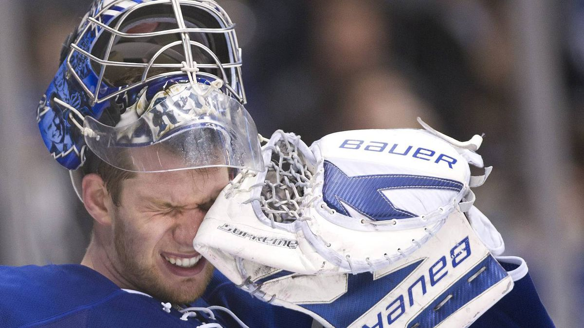 Toronto Maple Leafs goalie James Reimer reacts while playing against the Florida Panthers during third period NHL hockey action in Toronto on Tuesday, Feb. 28, 2012.