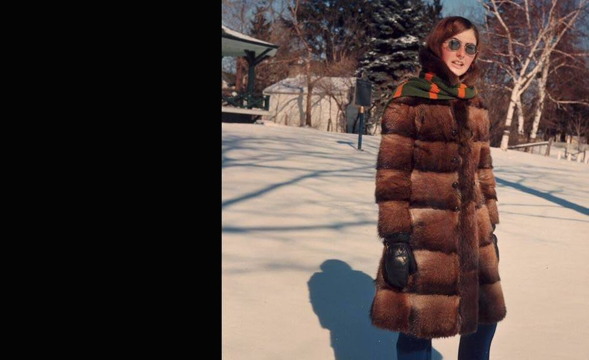 'And to match our Dad, here's our styling mom, Heather Chapple. She toiled in a bakery until she had enough money to buy this muskrat coat, which is still hanging in her closet,' write David and Michelle Gow.