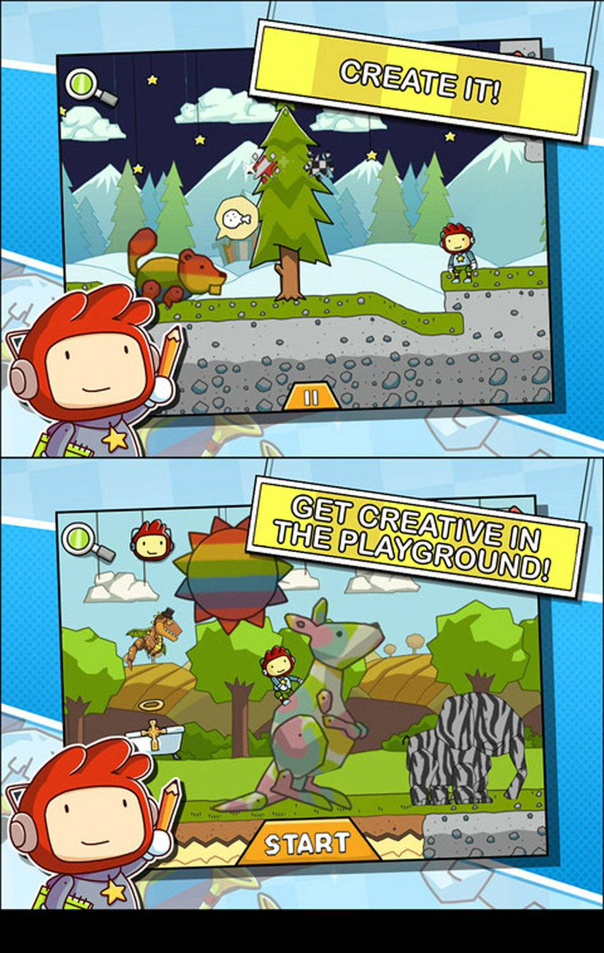 "Scribblenauts Remix One of the coolest video games ever made is also one of the most creative. Scribblenauts Remix is a puzzle game in which your words come to life. If your little guy (Maxwell) needs a ladder, type ""ladder"" to make one appear. If Maxwell needs a pot of gold, type ""rainbow"" and see what happens. Giant robot? Check. Dinosaur? You bet. Part of the fun of Scribblenauts is entering words just to see if the game makers anticipated your ideas. The game works so well because thousands of animated objects WERE included, and appear when you ask for them. ($0.99, universal, scribblenautsremix.com)"