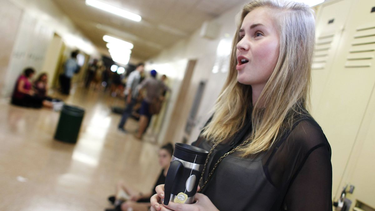 Alanna Aucoin, 17, is a Grade 12 student at Etobicoke School for the Arts, where students are now bringing their own coffee and tea to cope with a provincewide ban on caffeinated products in schools.