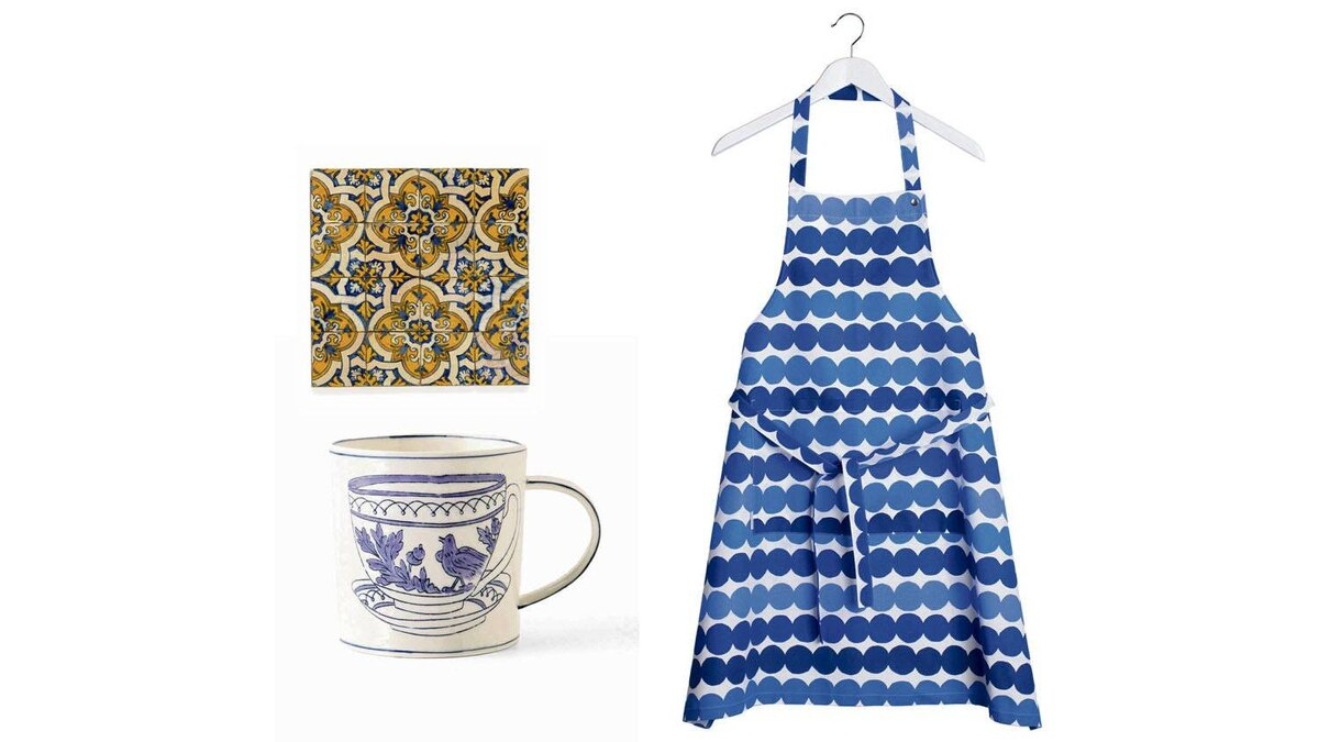 A TOUCH OF OLD SCHOOL Rasymatto apron, $45 at Marimekko in Vancouver (www.marimekkovancouver.com) Stoneware mug by Molly Hatch, $16 through www.anthropologie.com.