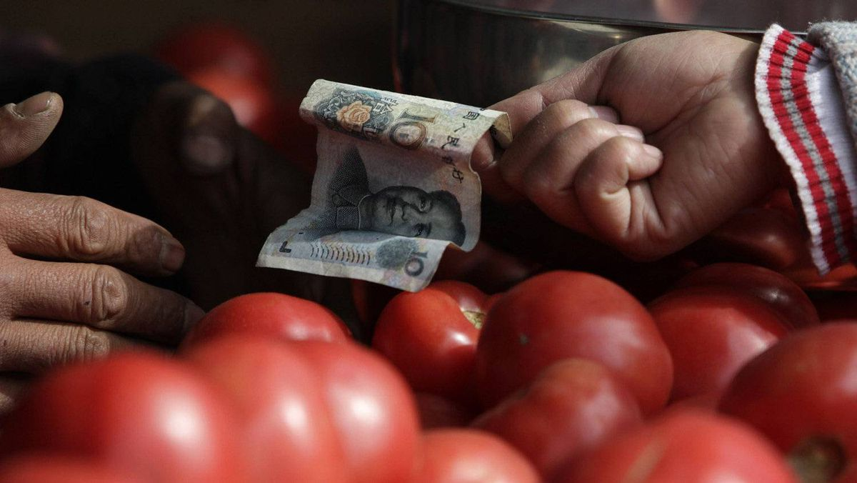 China's former chairman Mao Zedong's portrait is seen on a ten yuan banknote as a customer pays for her tomato at a market in Beijing, October 14, 2011.