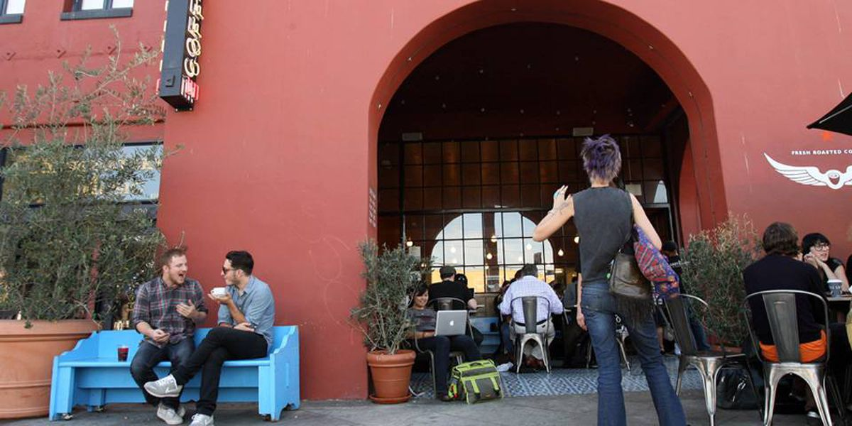 Bedheaded locals gather at Intelligentsia in Silverlake for latte art and fair-trade brew.