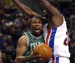 Boston Celtics' Sebastian Telfair, left, takes the ball to the basket past Detroit Pistons' Antonio McDyess during the first half of their NBA basketball game in this Feb. 6, 2007 file photo.