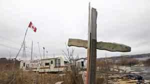 A makeshift cross in a part of Halifax once known as Africville on Wed., Feb. 24. The black neighbourhood was razed in the 1960s, an act the city apologized for on Wednesday.