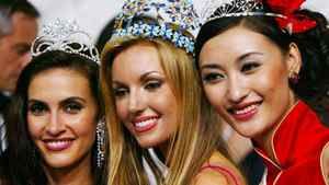Miss Canada Nazanin Afshin-Jam, left, was the first runner up at the 2003 Miss World compeition. The winner was Miss Ireland Rosanna Davison, centre, and the second runner up was Miss China Qi Guan.