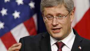 Prime Minister Stephen Harper speaks at a news conference with U.S. President Barack Obama in Washington on Feb. 4, 2011.
