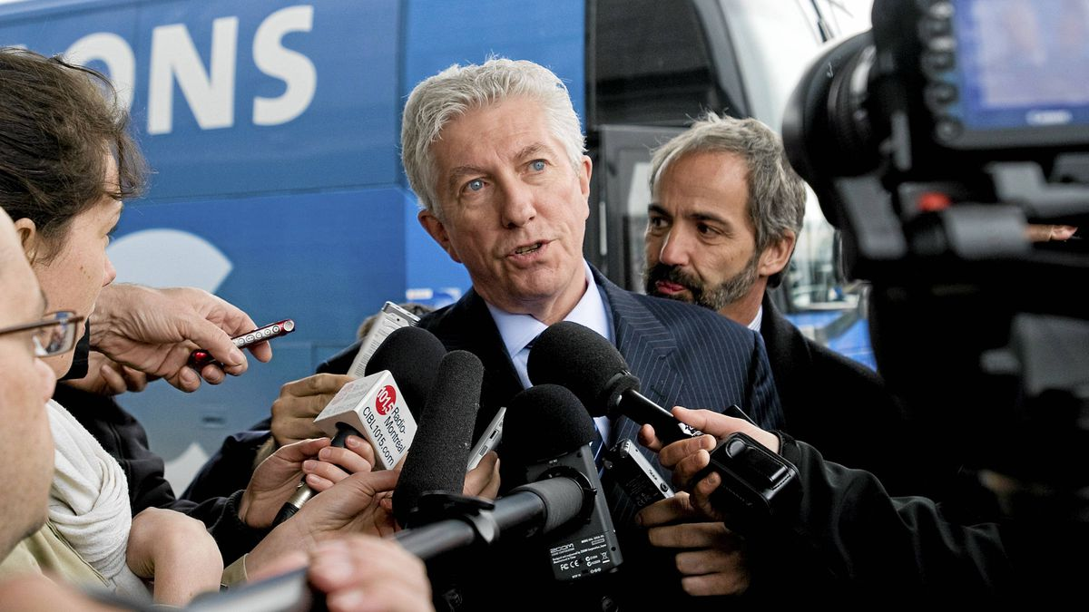 Bloc Quebecois leader Gilles Duceppe speaks to reporters during a campaign stop in Montreal, Tuesday, April 26, 2011.