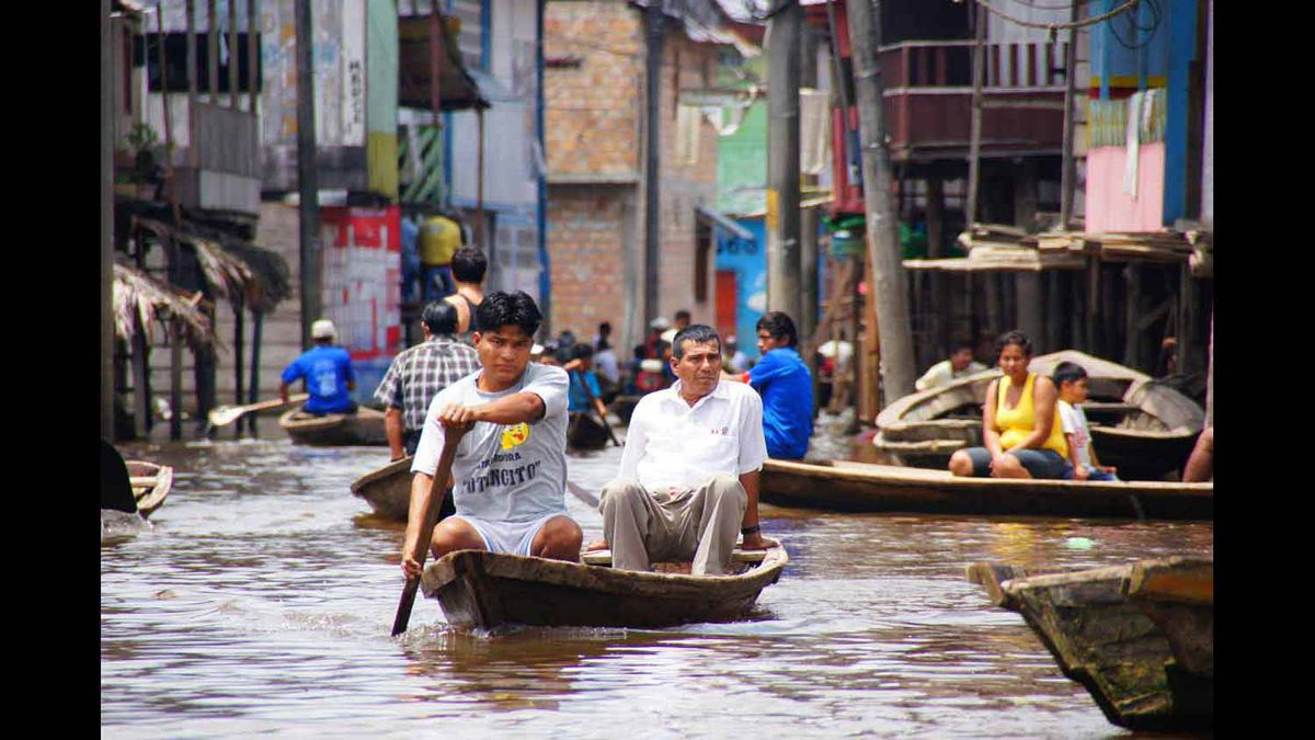 January, 2012 - As the Amazon River rises each year, the streets become busy waterways.