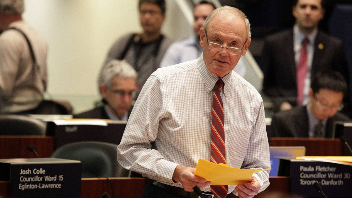 Toronto City Councillor Doug Holyday spoke during the budget debate at City Hall in Toronto on January 17, 2012. (
