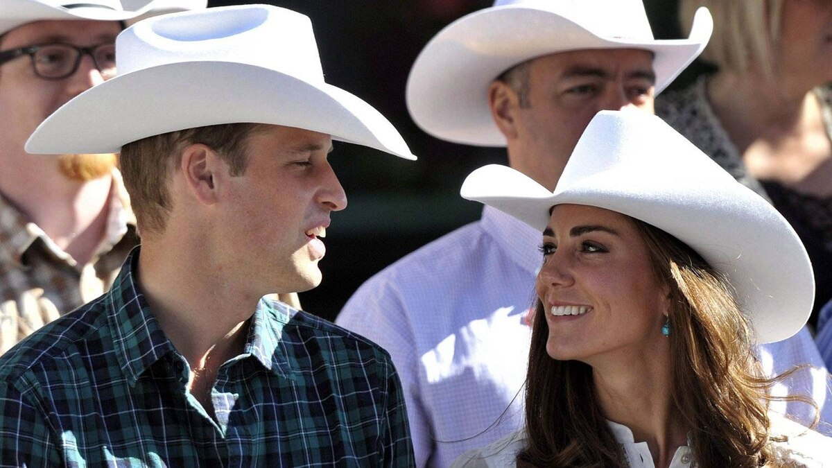 """""""White hatters"""": Attending the Calgary Stampede parade on July 8, 2011, the Duke and Duchess of Cambridge wear custom-made, white Smithbilt cowboy hats. They were presented to the newlyweds as symbols of hospitality."""