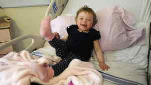 Reese Hawkins, 22 months old, has been diagnosed with leukemia and is at Toronto's Hospital for Sick Children to receive a stem-cell transplant. She will undergo eight days of chemotherapy before her transplant.