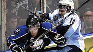 Mississauga St. Michael's Majors forward Brett Flemming hits Kootenay Ice forward Kevin King (L) during the second period of their round-robin Memorial Cup ice hockey game in Mississauga May 22, 2011. REUTERS/ Mike Cassese