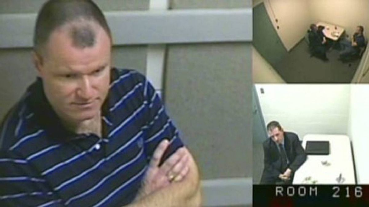 "Col. Russell Williams is shown in this court-released image from his interrrogation by police captured on video and shown Wednesday in a Belleville, Ont. courtroom. Williams told police that while he did ask himself why he raped and killed women he could never come up with an answer and he was ""pretty sure the answers don't matter."""