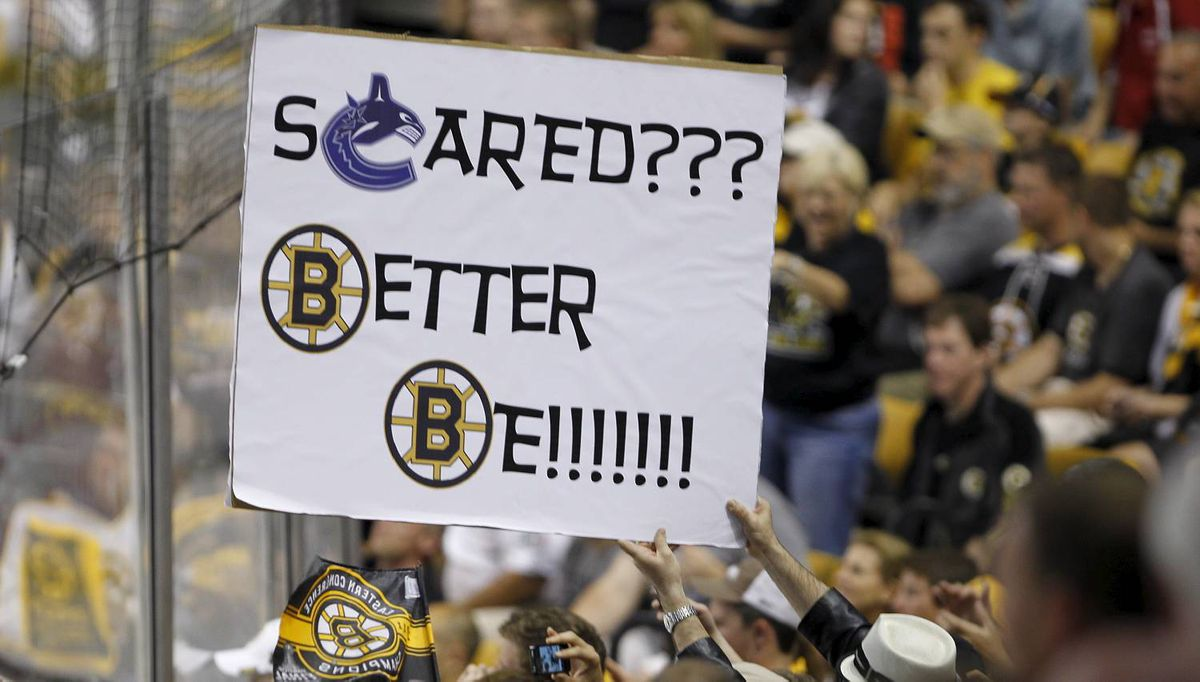 during the third period of Game 4 of the NHL Stanley Cup Final series between the Boston Bruins and the Vancouver Canucks in Boston on June 8, 2011. The Bruins won 4-0, with Boston Bruins Tim Thomas getting a shut-out and a slashing minor. (Photo by Peter Power/The Globe and Mail)