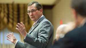 Ed Stelmach speaks to the Rotary Club in Edmonton on Jan. 31, 2011, a week after announcing he was stepping down as Alberta premier.