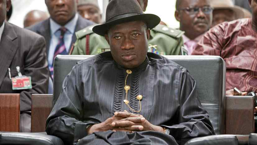 Nigerian President Goodluck Jonathan, expected to win in presidential elections scheduled for April 16, attends a campaign event in Abuja, the capital.