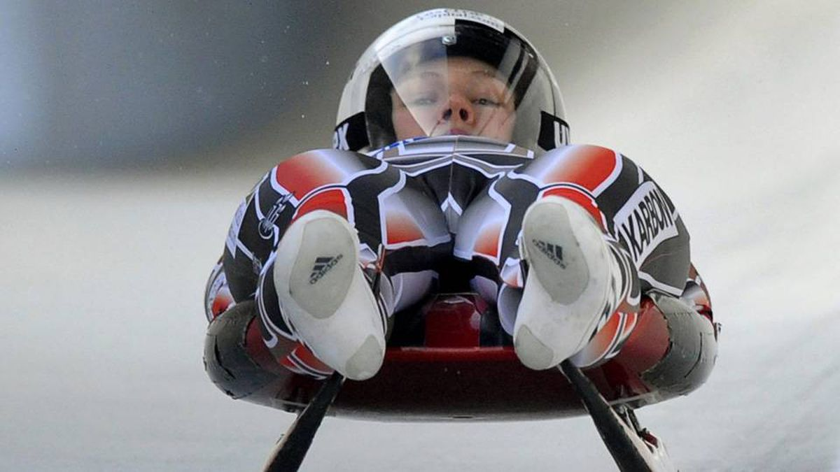 Alex Gough from Canada speeds down the track during a practice session of the Women's Single Luge event at the Luge World Championships in Altenberg, Germany, Friday.