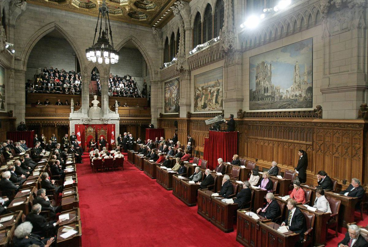 Governor-General Michaelle Jean reads the Speech from the Throne to begin the second session of the 39th Parliament in the Senate chamber on Tuesday, Oct. 16, 2007.
