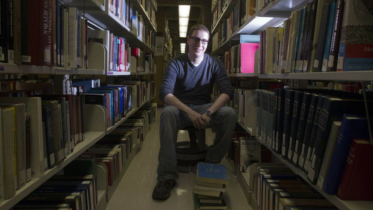 Jean-Philippe Gauvin, 24, a PhD student at University of Montreal poses at school in Montreal, December 15, 2011.