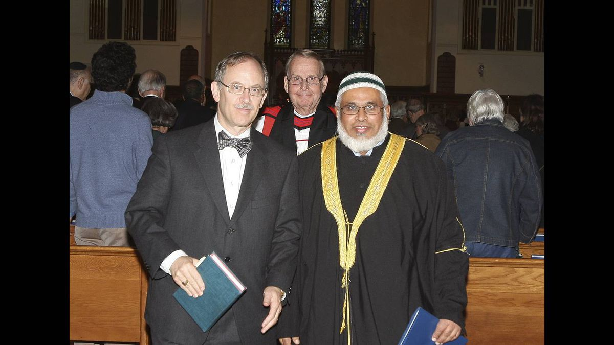 Bryan Beauchamp photo: In Toronto the Abrahamic faiths can worship together - From left: Rabbi Baruch Frydman-Kohl prayed, Archbishop Terence Finlay gave the blessing and Imam Abdul Hai Patel preached at this Anglican interfaith service in 2009. A kosher-halal reception followed.