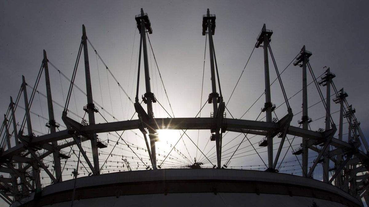 The 36 masts now in place on BC Place in Vancouver February 7, 2011. Renovations to BC Place Stadium should be complete by Sept. 30, 2011, says BC Pavilion Corporation (PavCo).