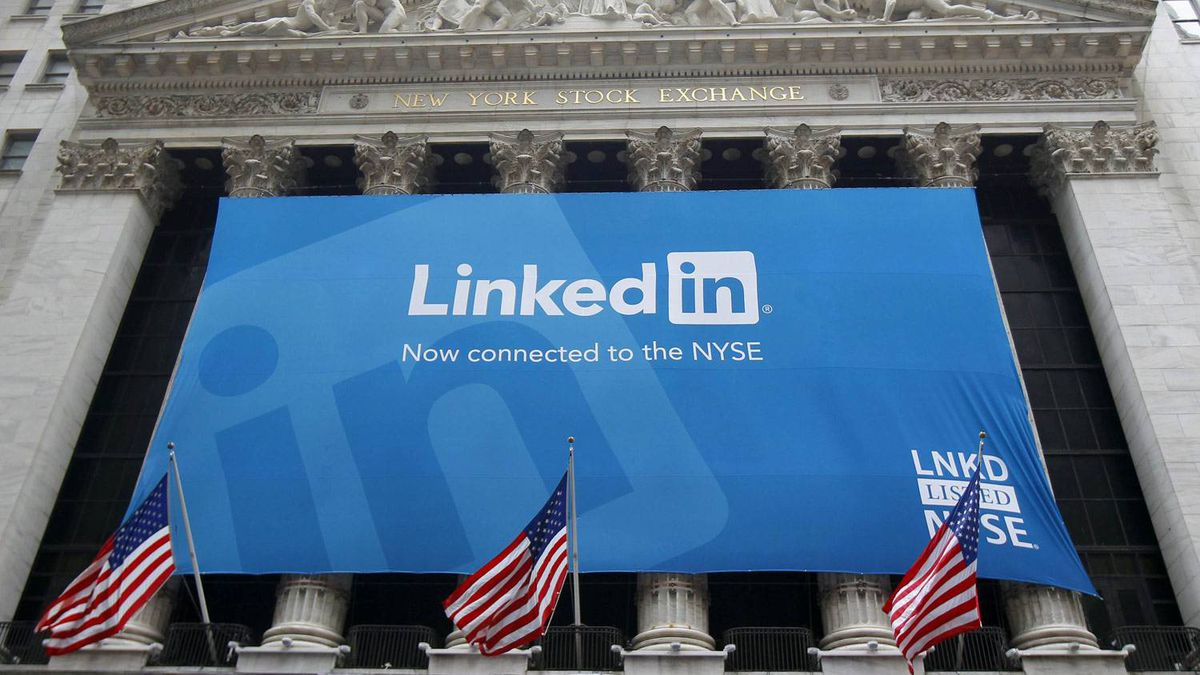 A banner announcing Linkedin Inc. listing on the New York Stock Exchange hangs on the face of the building in New York, May 19, 2011.