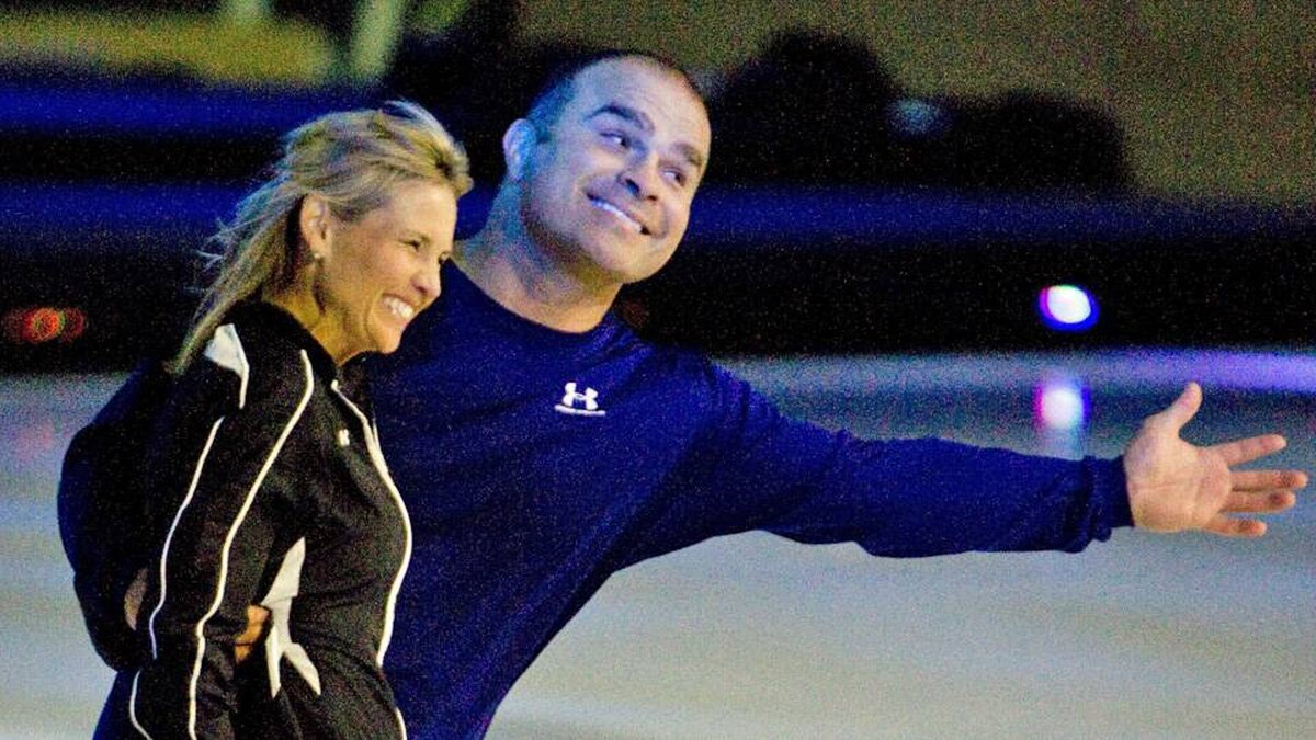 Tie Domi and Christine Hough-Sweeney work on their moves for CBC-TV's Battle of the Blades.