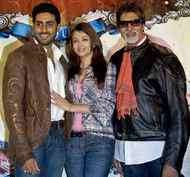 "Aishwarya Rai Bachchan with her husband, Abhishek Bachchan, left, and his father, the ""Superstar of the Millennium"" as voted by a BBC online poll, Amitabh Bachchan."